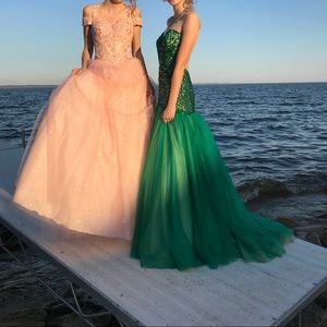 Angela & Alison emerald mermaid style prom dress.
